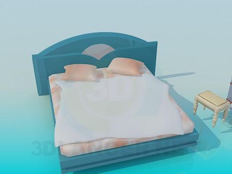 3d модель Ліжко з тумбочкою і стільчиком – превью
