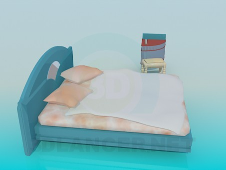 modelo 3D Cama con silla adaptable y gabinete - escuchar