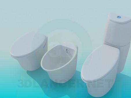 modelo 3D Un conjunto de sanitarios - escuchar