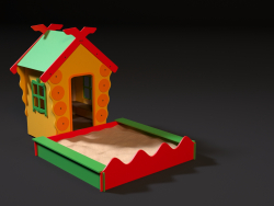 Childrens playhouse with a sandbox