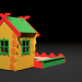 3d Childrens playhouse with a sandbox model buy - render