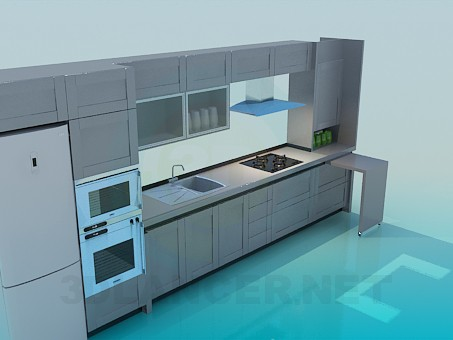 3d model kitchen set download for free for Model model kitchen set