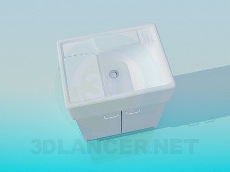 3d model Convenient wash basin with pedestal - preview