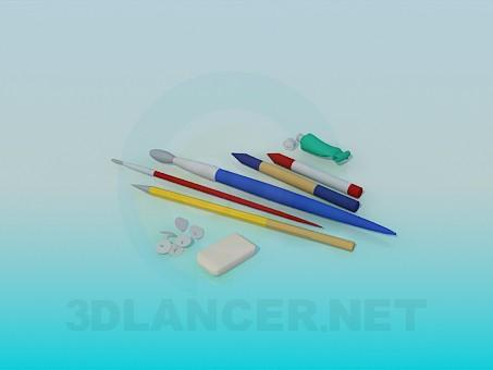 3d модель Набор инструментов для художника – превью