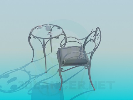 3d model Wrought iron coffee table with chair - preview