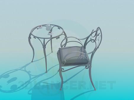 3d модель Кованый чайный столик со стулом – превью