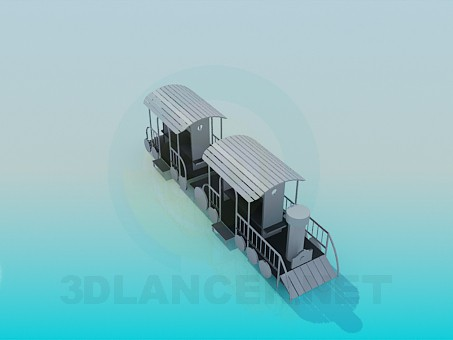 3d modeling Wooden steam locomotive model free download