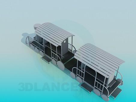 modelo 3D Locomotora de vapor de madera - escuchar