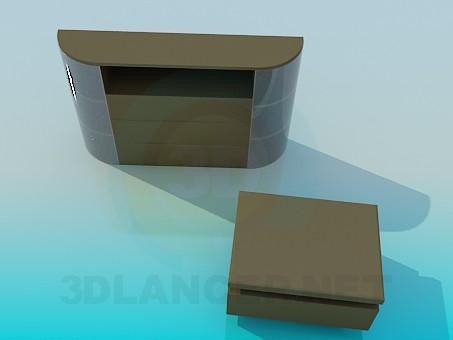 modelo 3D Armario para TV y banqueta - escuchar