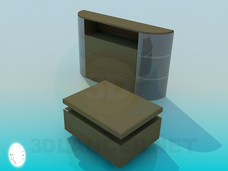 3d model Cupboard for TV and banquette - preview