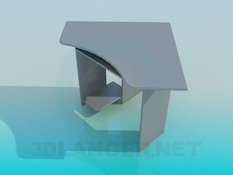 3d модель Компьютерный угловой стол – превью