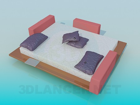 3d model Bed with wooden bridges - preview