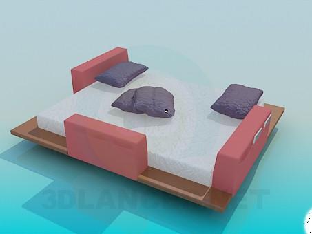 3d модель Кровать с деревянными подставками – превью