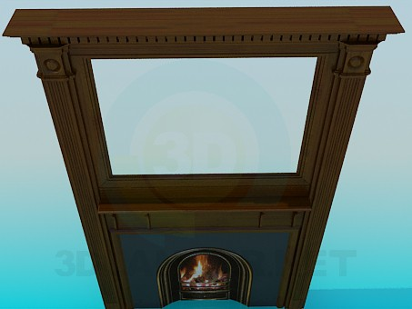 3d model Fireplace with mirror - preview