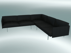 Corner sofa Outline (Refine Black Leather, Polished Aluminum)