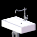 3d Marble sink with faucet and pipes model buy - render