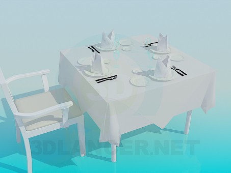 3d model A table in a restaurant - preview