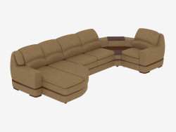 Leather sofa with coffee table and bar