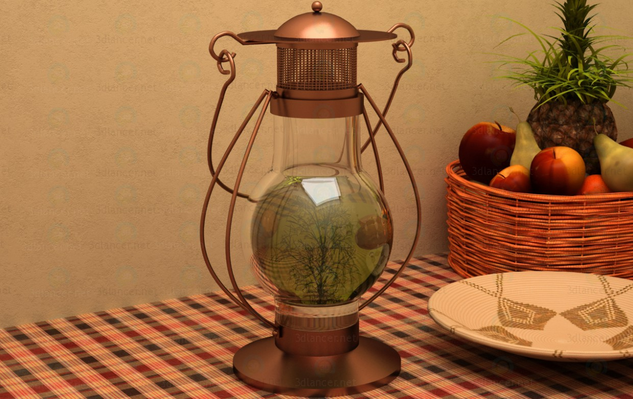 3d model Decorative Oil Lamp - preview