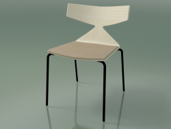 Stackable chair 3710 (4 metal legs, with cushion, White, V39)
