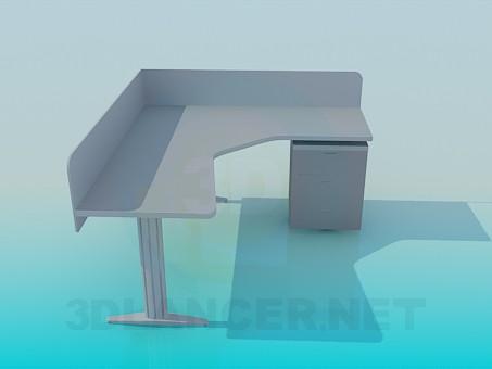3d моделирование Угловой стол под компьютер модель скачать бесплатно