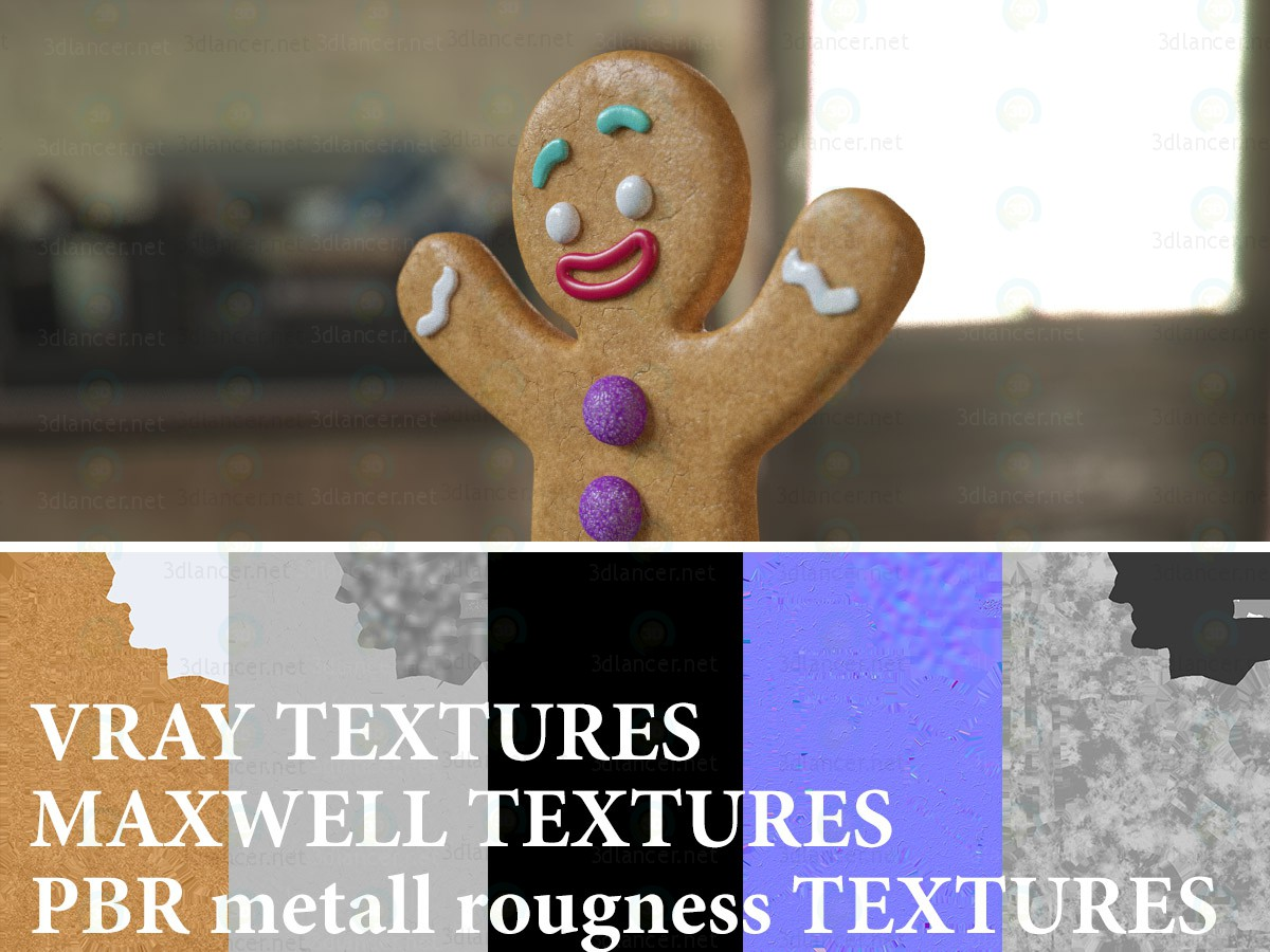 3d Gingerbread Man model buy - render