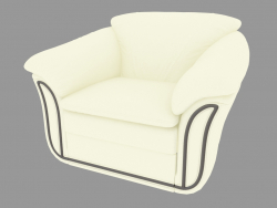 Armchair white leather with dark inset