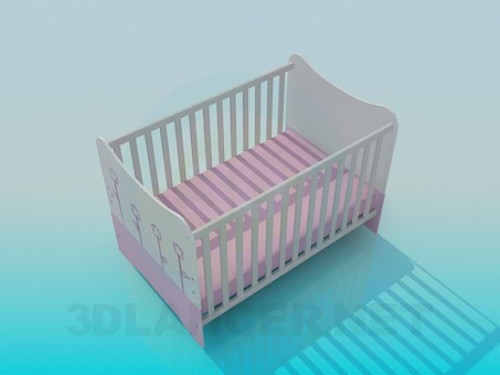 3d model Crib in the nursery - preview
