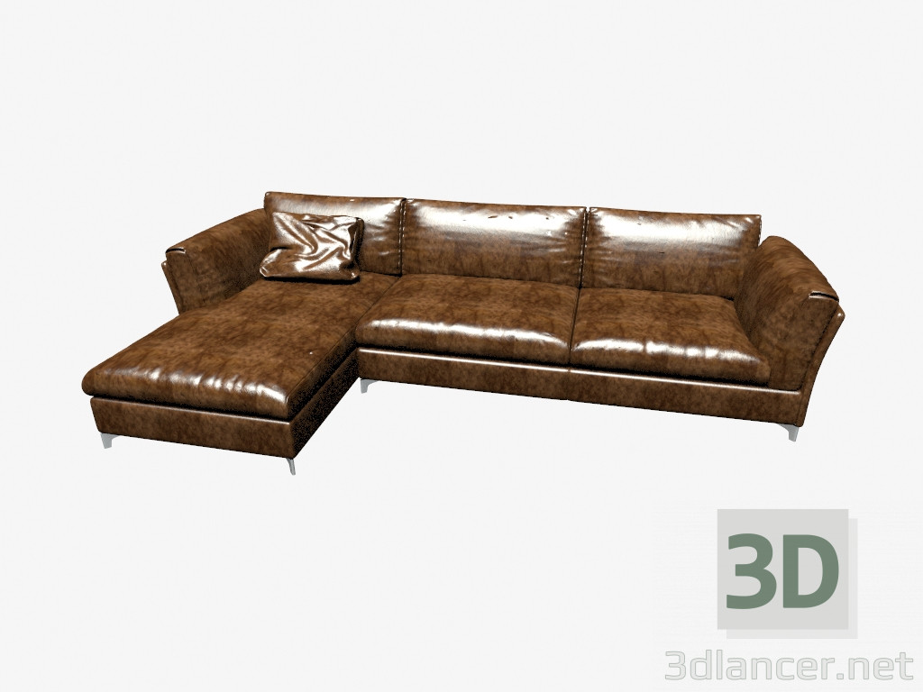 3d model sofa bahia with chaise longue manufacturer livar for Chaise longue sofa cama