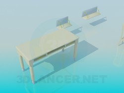 Desk, shelves, table with storage compartment