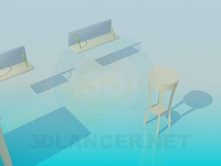 3d model Desk, shelves, table with storage compartment - preview
