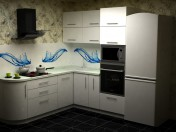 Kitchen made of acrylic plastic with curved elements