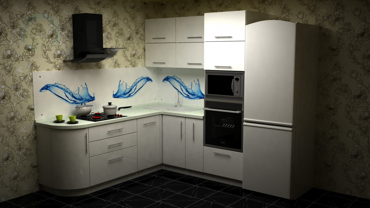 3d model Kitchen made of acrylic plastic with curved elements - preview