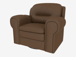 Brown leather upholstered chair with footrest