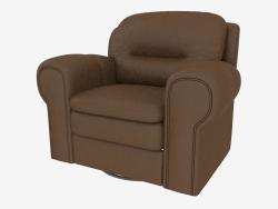 भूरे रंग के चमड़े के साथ भूरे रंग के चमड़े के अपरिवर्तित कुर्सी