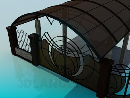3d model Gates and gate into the yard, carport - preview