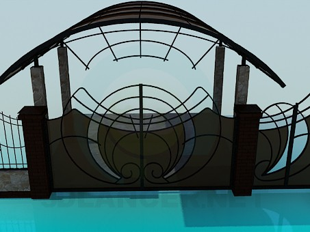 3d модель Ворота и калитка во двор, навес – превью