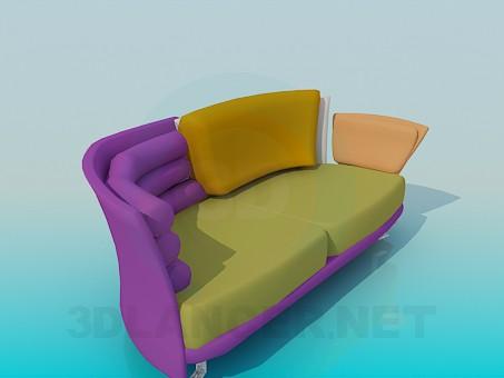 modelo 3D Colorido sofá informal - escuchar