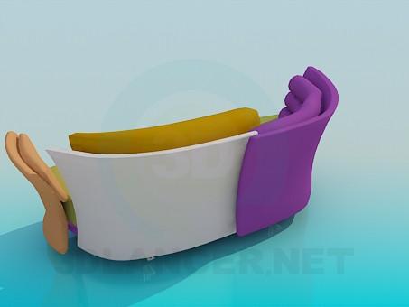 3d модель Разноцветный неформальный диван – превью