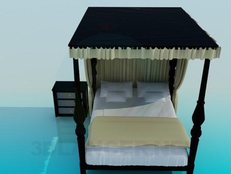 3d model Bed with roof - preview
