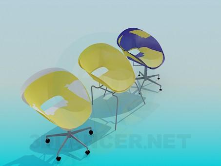 3d модель Комплект стільців для кафе – превью