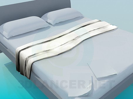 3d modeling Bed with furnishing model free download