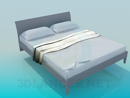 3d model Bed with furnishing - preview