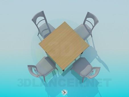 3d модель Квадратный столик со стульями – превью