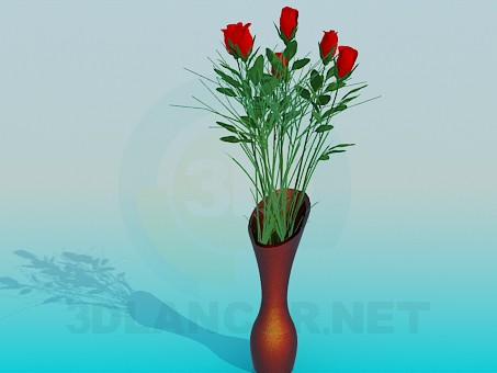 3d model Roses in a vase - preview