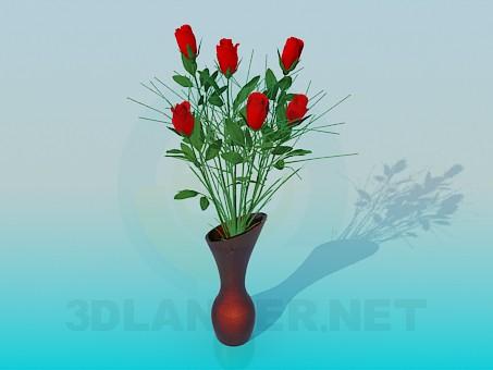 3d модель Троянди у вазі – превью