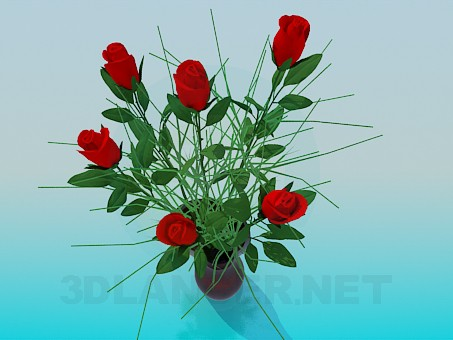 3d модель Розы в вазе – превью