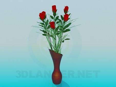 modelo 3D Rosas en un jarrón - escuchar