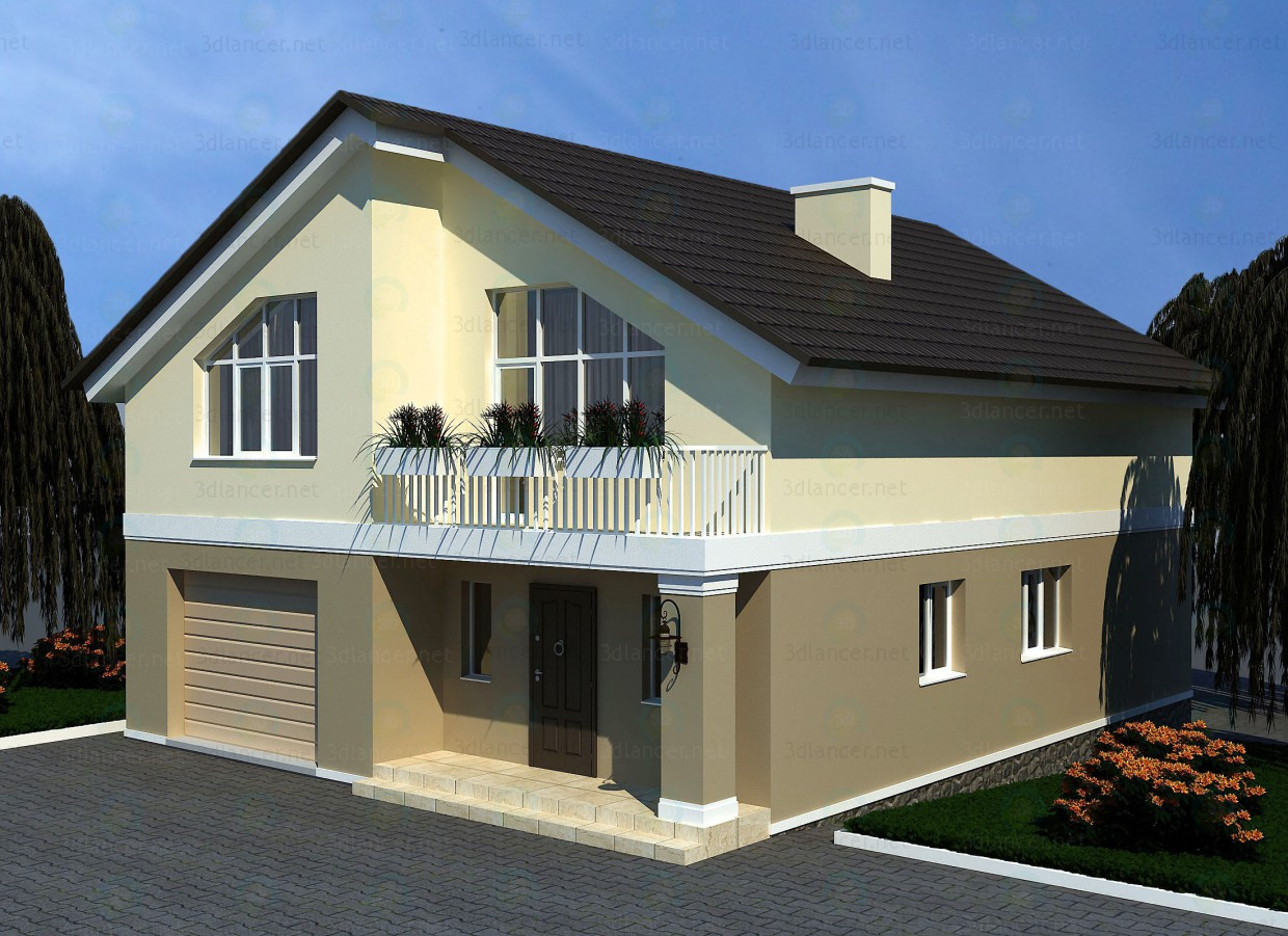 3d model Two-storey house - preview