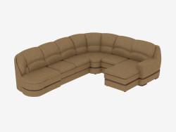 divano ad angolo in pelle modulare